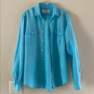 Men's turquoise linen/cotton button down shirt